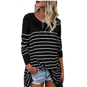 Tops - Striped Oversized Tunic Shirt